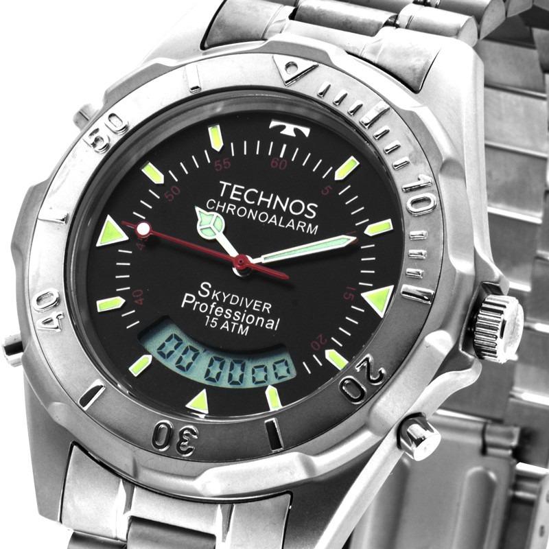 4755c1484ba45 Relógio Technos Masc. Anadigi Skydiver Fundo Preto T20562 1r - R ...