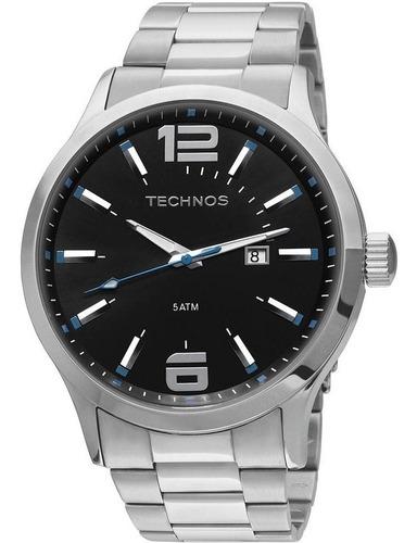 relógio technos masculino 2115gu/1a detalhe azul até 12x s/j