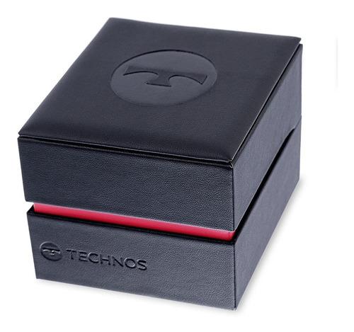 relógio technos masculino 2115mtx/0a pulseira de couro