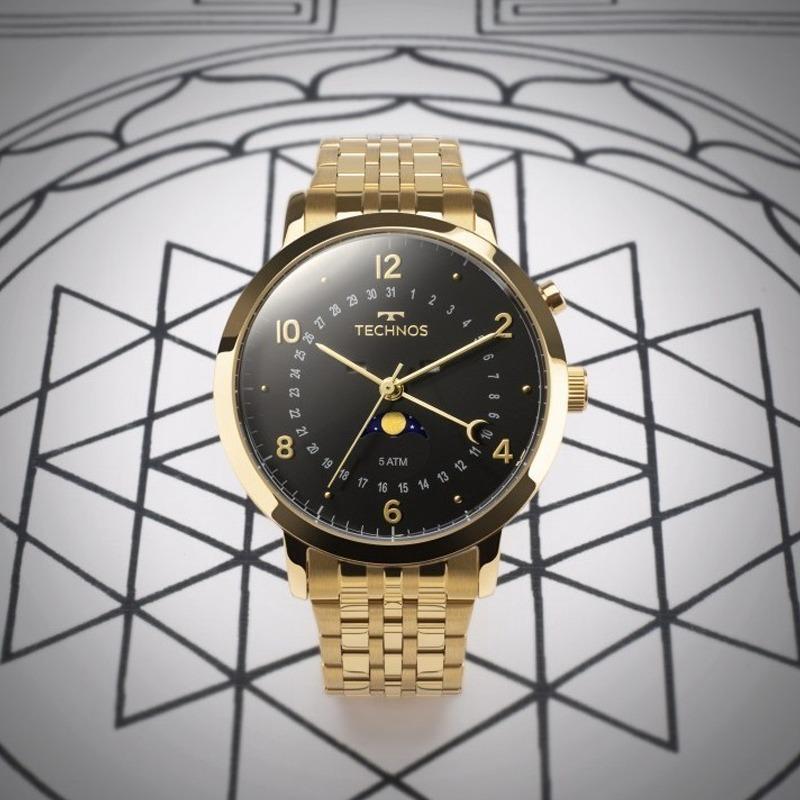 Relógio Technos Masculino Dourado E Preto Original 6p80ac 4p - R ... 2e4972c59b