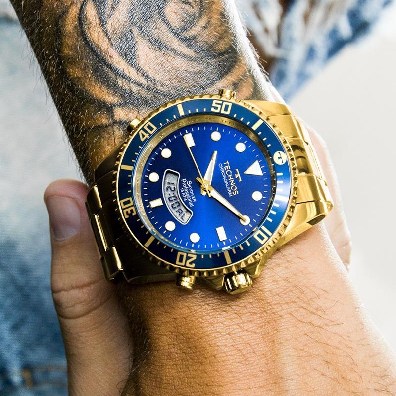 Relógio Technos Masculino Skydiver Dourado E Azul T205jd 4a - R  385 ... 8e163931a0