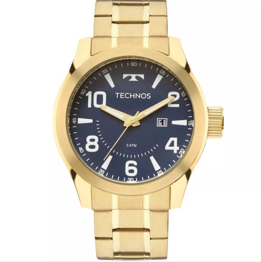 bb21f36a8956d Relógio Technos Dourado Masculino Fundo Azul 2115mgq 4a - R  339,00 ...