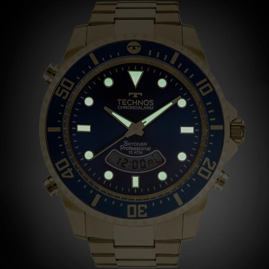 5f29a8016f716 Relógio Technos Masculino Skydiver Dourado E Azul T205jd 4a - R  361 ...