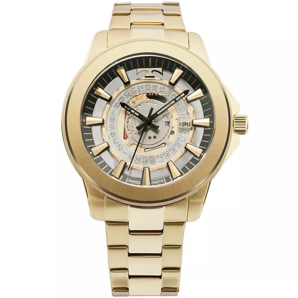 43541c9dd38c1 Carregando zoom... technos masculino relógio · relógio technos essence  masculino dourado suiço ...