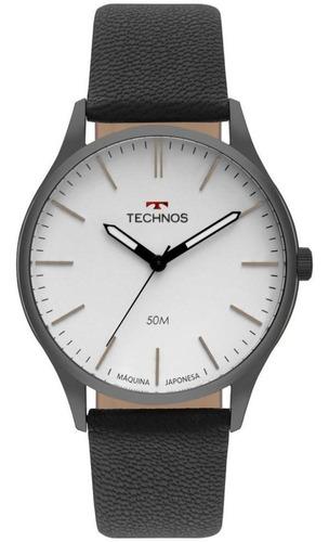 relógio technos masculino analógico pulseira de couro casual