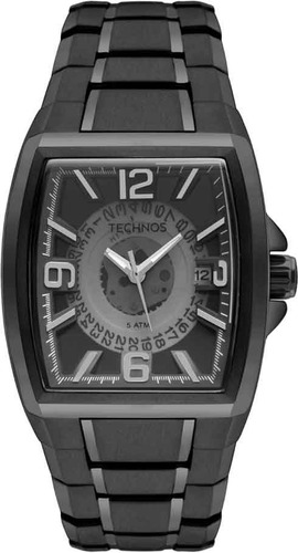 relógio technos masculino  as37ad/4p preto quadrado