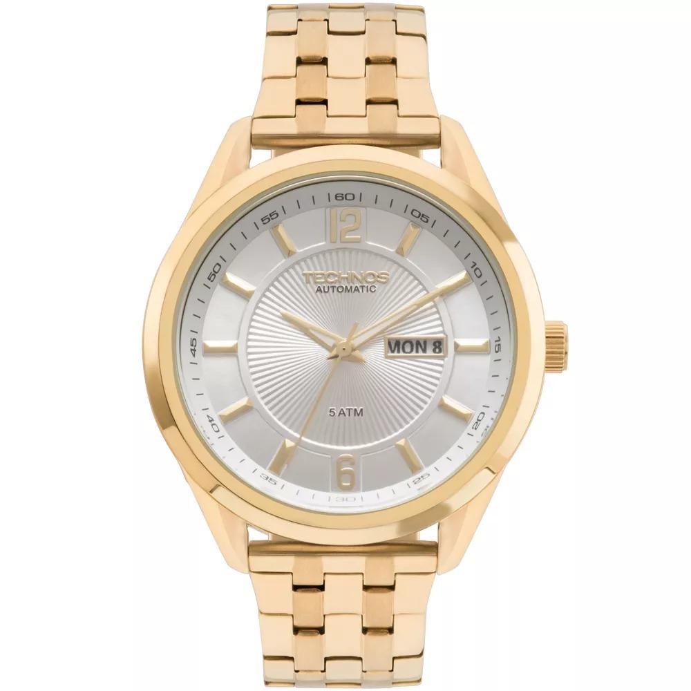 7e5fb9cc884c2 relógio technos masculino automático dourado 8205nl 4k. Carregando zoom.