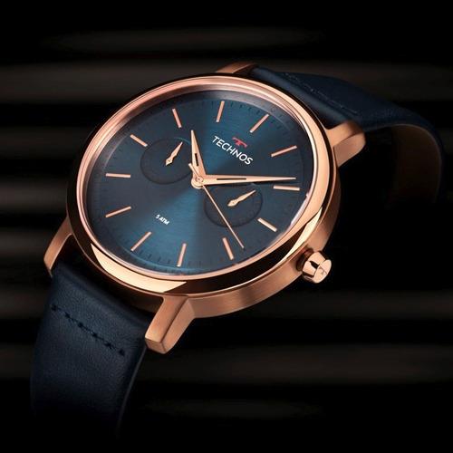 relógio technos masculino couro azul t43 original