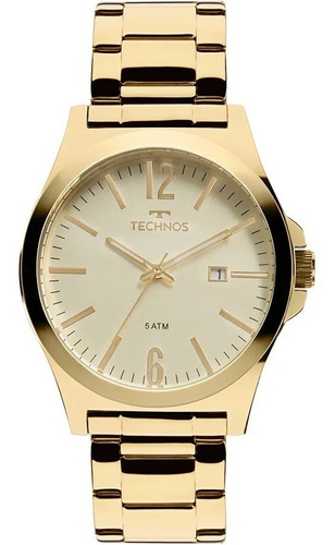relógio technos masculino  dourado - 2115lan/k4x