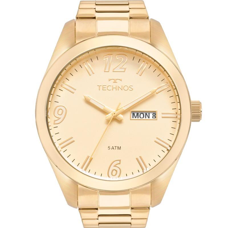 402d3d3a0b750 relógio technos masculino dourado 2305av 4x original inox. Carregando zoom.