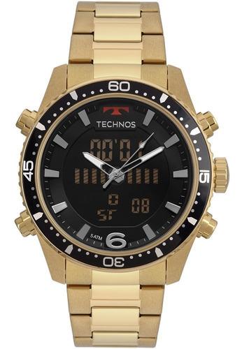 relógio technos masculino  dourado anadi grande original