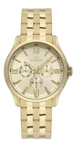 relógio technos masculino dourado executive 6p29aju/4x