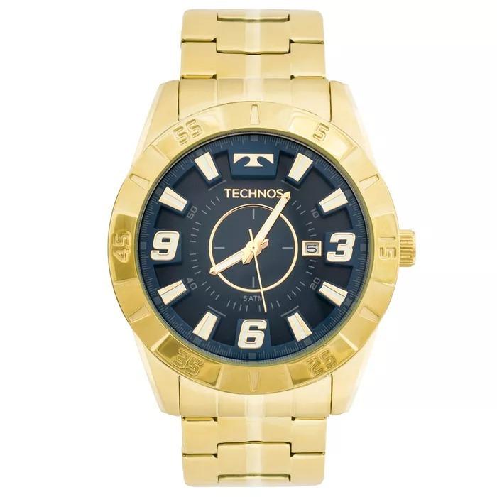6488575b55874 Relógio Technos Masculino Dourado Fundo Azul 2115kyz 4a Orig - R  339,00 em  Mercado Livre