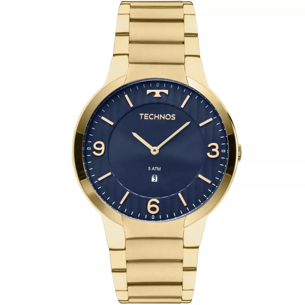 2f00427f3a2 relógio technos masculino dourado gl15an 4a classic slim. Carregando zoom.