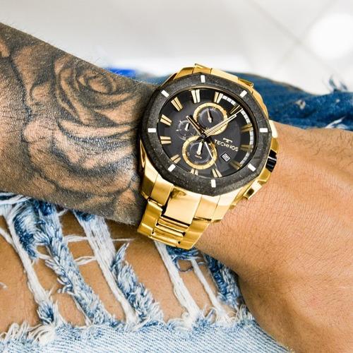 relógio technos masculino dourado legacy crono - js16ab/4p