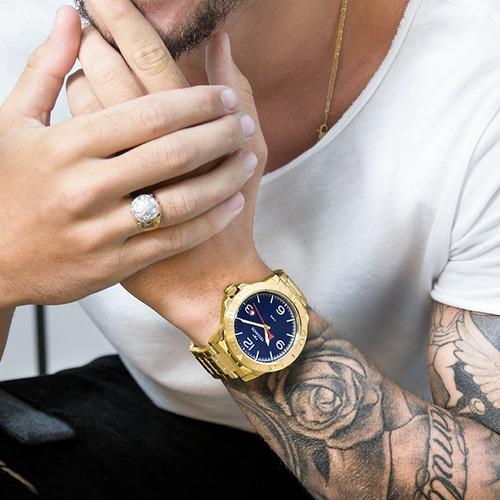 relógio technos masculino dourado original barato 2315kzp/4a
