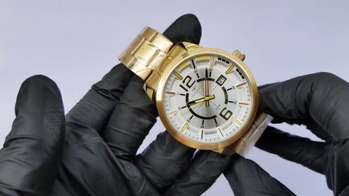 relógio technos masculino dourado original n. fiscal