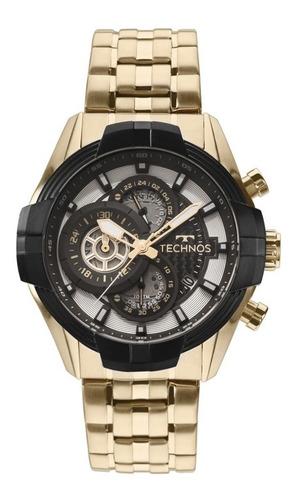 relógio technos masculino dourado performance sports carbon
