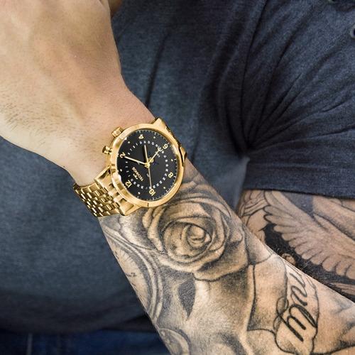 relógio technos masculino dourado preto lua nota 6p80ac/4p