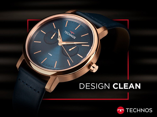 relógio technos masculino executive 6p25bs/2a rose couro top
