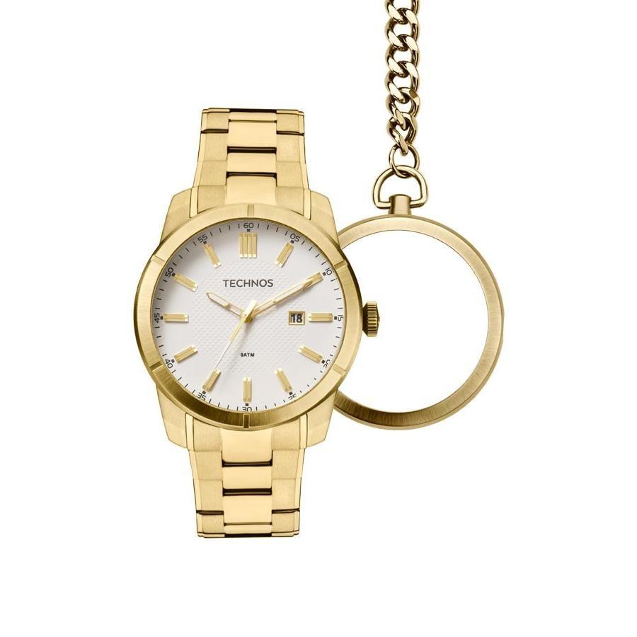 ea78f19da32 relógio technos masculino gm10ye 4b bolso e pulso dourado. Carregando zoom.