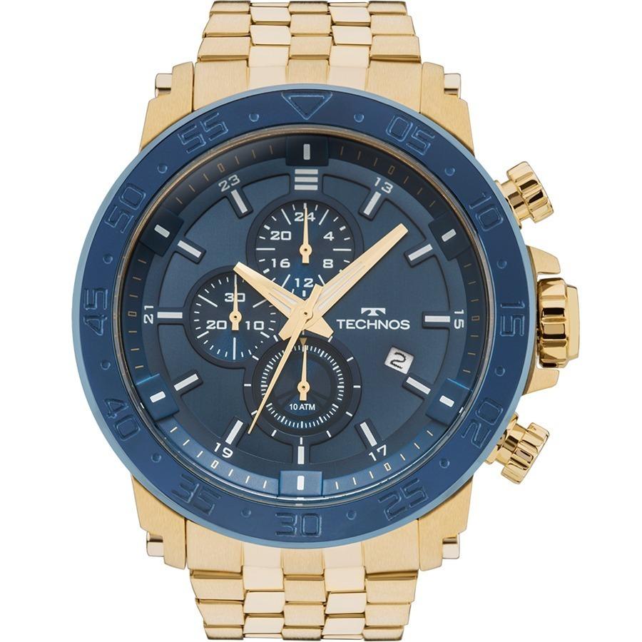 0eff2456b16 relógio technos masculino legacy dourado azul nfe js15er 4a. Carregando  zoom.
