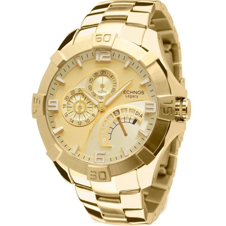 Relógio Technos Masculino Legacy Dourado Jr00ah 4x - C  Nfe - R  635,90 em  Mercado Livre 23152a8114