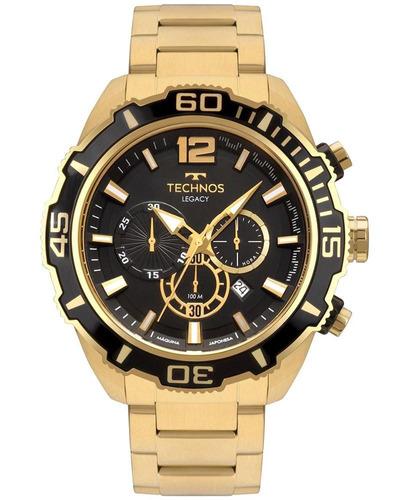 relógio technos masculino legacy js26aq - cor dourado/preto