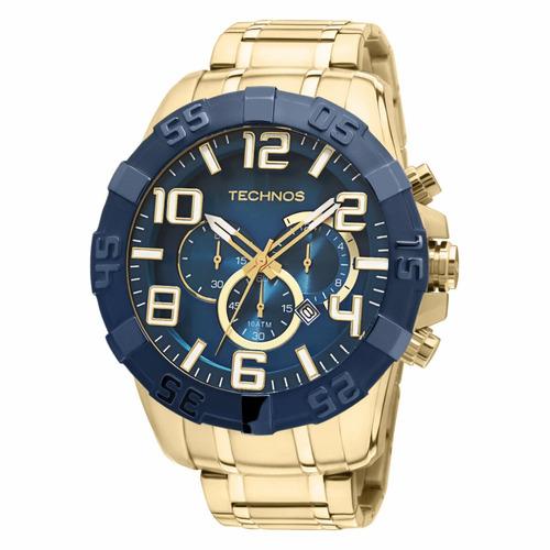 relógio technos masculino os20iq/4s cronógrafo dourado + nf