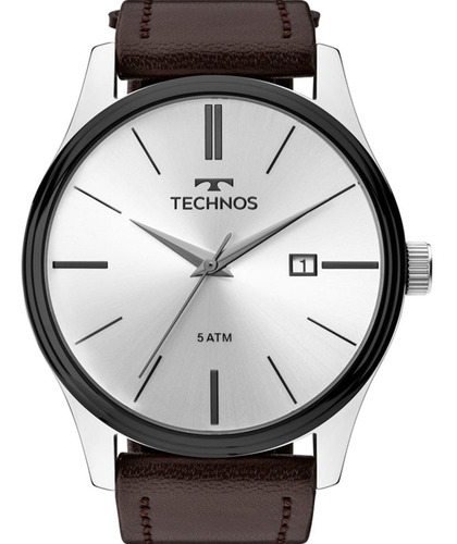 relógio technos masculino prata c/ pulseira couro 2115mpp/1k