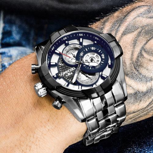 relógio technos masculino prata e preto esportivo js15ev/1p