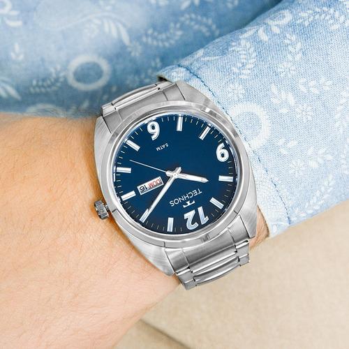 relógio technos masculino prata original  2305au/1a barato