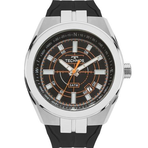 relógio technos masculino prata preto original 2315aco/8p