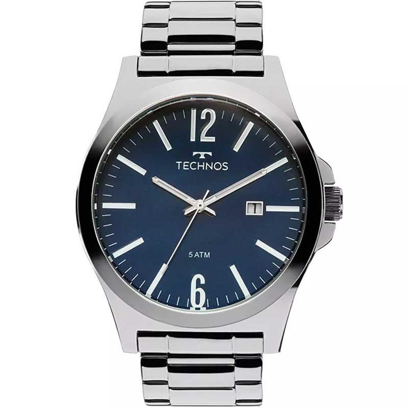 relógio technos masculino prata steel fundo azul 2115lay 1a. Carregando  zoom. 635e2a7a27