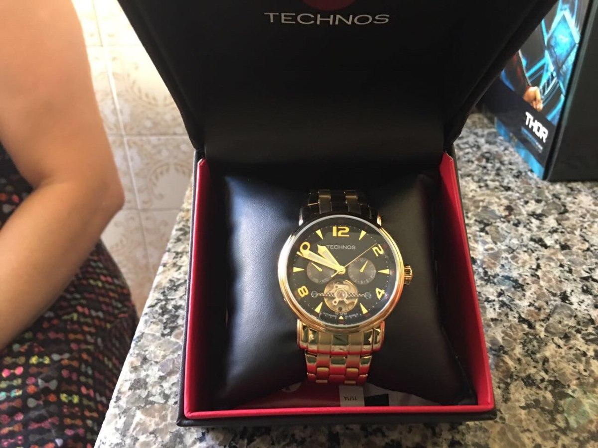 0150d8e24c2 relógio technos masculino pulseira dourada - usado uma vez. Carregando zoom.