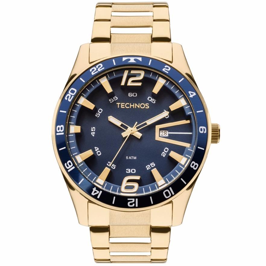 daf9bdd83ba22 relógio technos masculino racer dourado 2115laj 4a - nfe. Carregando zoom.