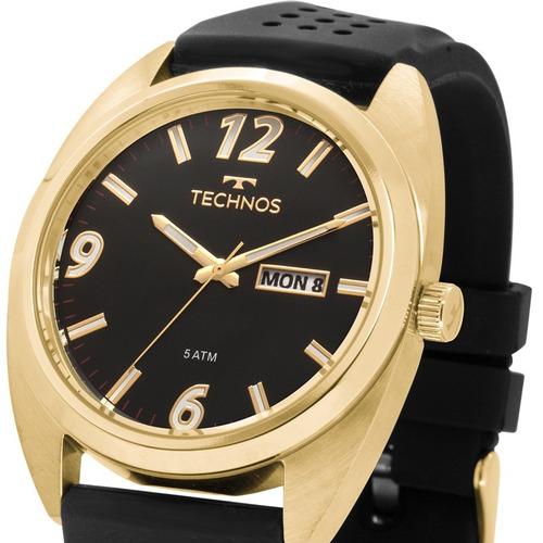 relógio technos masculino racer preto dourado nfe 2305at/8p