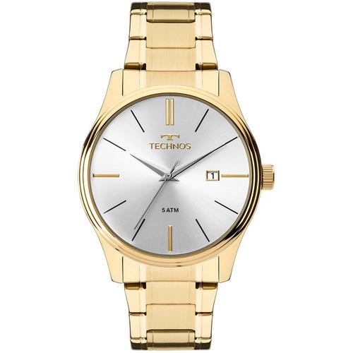 relógio technos masculino ref: 2115mpn/4k social dourado top