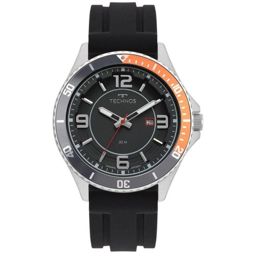relógio technos masculino ref: 2115msj/8p racer prata