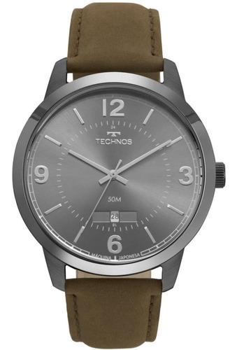 relógio technos masculino resistente a água pulseira couro
