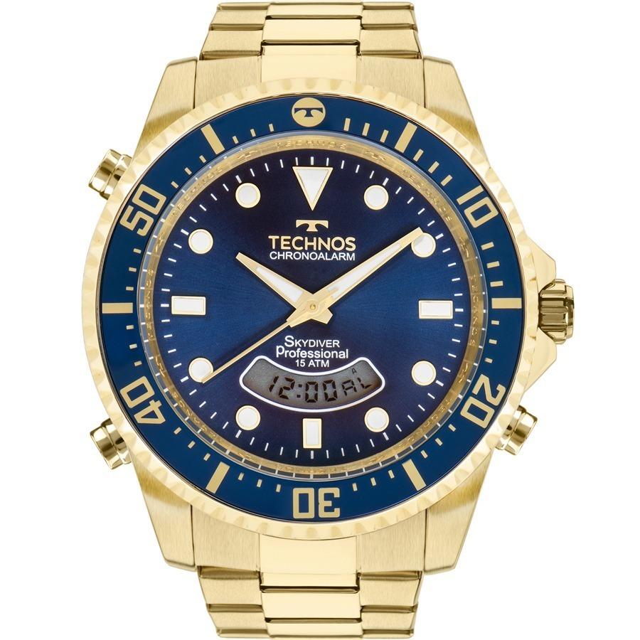 aa308555c29 relógio technos masculino skydiver dourado e azul t205jd 4a. Carregando  zoom.