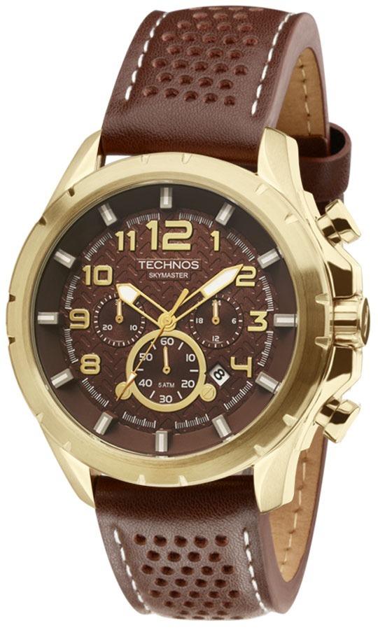 relógio technos masculino skymaster js25bg 0m dourado couro. Carregando  zoom. 3b77a61e02