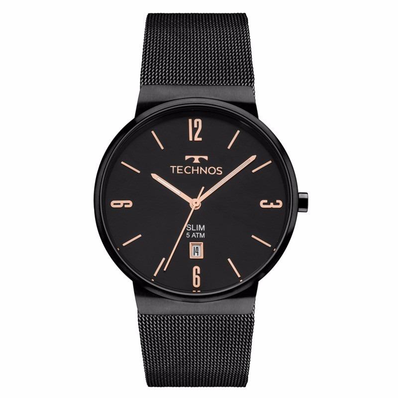 a265f2b911a99 Relógio Technos Masculino Slim Gm10yj 4p Preto Analogico - R  498,80 em  Mercado Livre