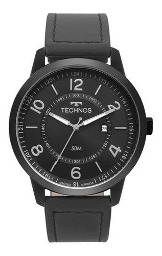 relógio technos masculino social de couro 2115msr/2p