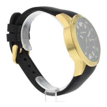 relógio technos pulseira de silicone com dourado 2115kpu/8p