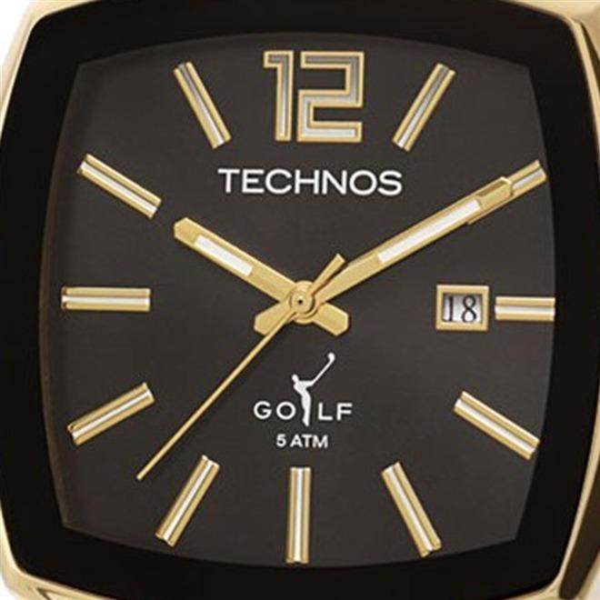 5f1877cf802 Relógio Technos Quadrado Dourado Masculino Golf 2115koi 4p - R  322 ...