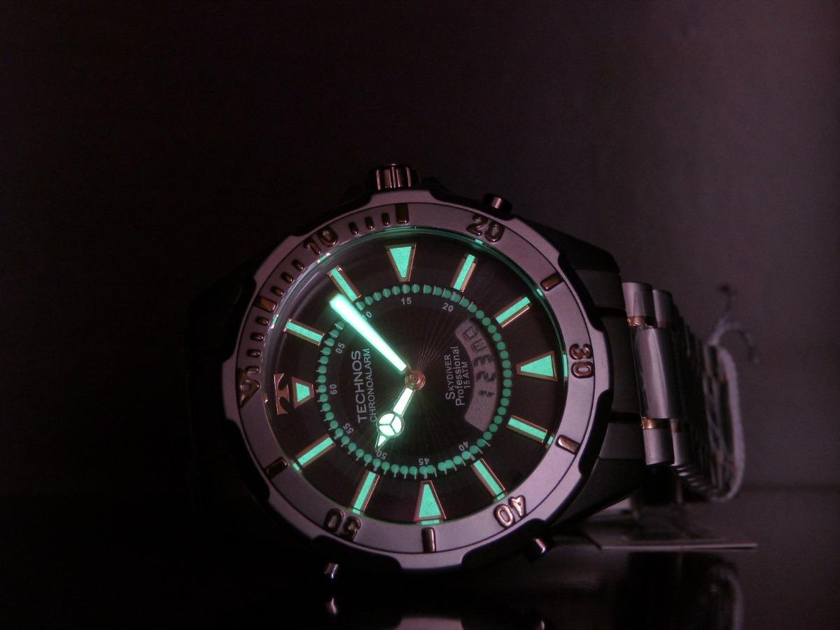 1e5bac70f3f37 Relógio Technos Skydiver 30 Anos T205fq 5p Prata Grande 150m - R ...
