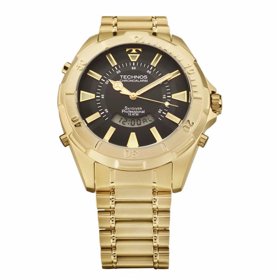 79395a36b88 relógio technos skydiver dourado t205fl 4p grande 30 anos. Carregando zoom.