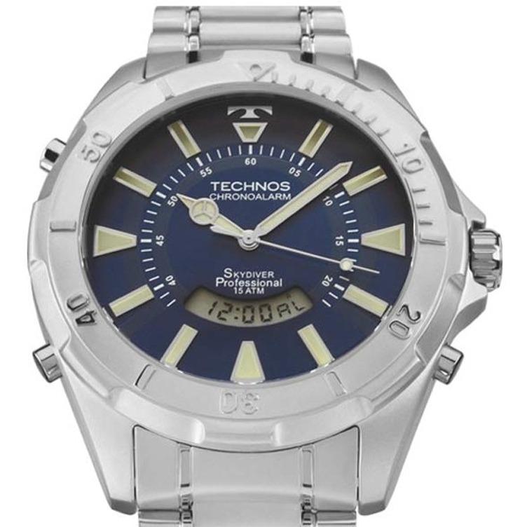 0db24a82d6800 Relógio Technos Skydiver Fundo Azul Grande T205fm 1a - R  489