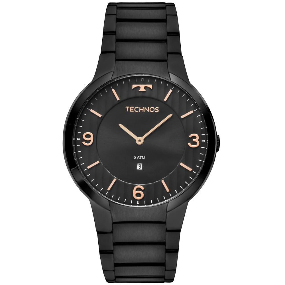 ace442e8ac6 relógio technos slim gl15am 4p 42mm aço preto. Carregando zoom.
